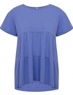 Glossy Blue Round Neck Plain Tops Oversize For Traveling