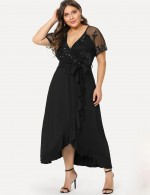 Pleasurable Black Wrap Plunge Neck Big Size Dress Mesh Vacation Time