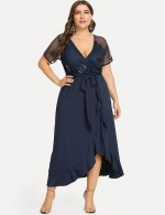 Glitzy Sapphire Blue Bead Embroidery Plus Size Dress Patchwork Fashion