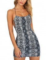 Comfy Serpent Print Blue Bodycon Dress Strappy Outfits
