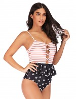 Beautiful Big Size Ruffle 1 Piece Backless Swimsuit Online