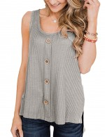 Functional Grey Split Buttons Scoop Neck Tank Top Women