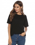 Glaring Black High-Low Hem Tees O Neckline For Women