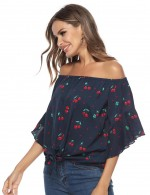 Glorious Chiffon Flare 3/4 Sleeved Shirt Off Shoulder On-Trend