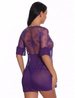 Gentle Purple Lace Stitch V Neck Babydoll Set Hollow Out For Couple