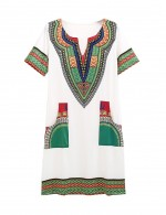 Bewitching Creamy White Ethnic Pattern V Neck Mini Dress Pocket For Fashion