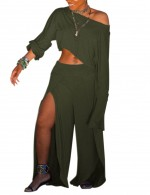 Modest Cropped Slit Green Palazzo Pants Set Plain For Women