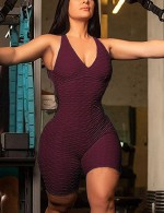 Wine Red Backless Sleeveless Jumpsuit Strap High Quality