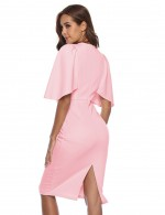 Cheeky Pink Back Zipper Tight Dress Crew Neck Fashion Design