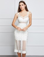 Casually White Beading Mesh Patchwork Bandage Dress For Camping