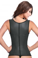 Steel Boned Black Latex Waist Trainer Vest With Straps
