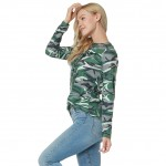 Camouflage Print Crisscross Lacing Blouse Full Length Sleeves