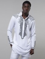 Marvelous White Standing Neck Long Sleeve Big Size Men Top Casual