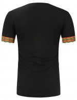 Appealing Black V Collar African Male T-Shirt Short Sleeve Loose