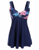 Exotic Backless Hollow Print Big Size 2 Pcs Tankini Under The Sun