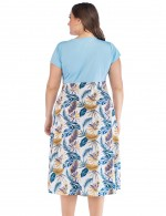 Good-Looking Light Blue Leaf V Collar Big Size Midi Dress Wrap Holiday