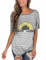 Fiercely Light Grey Backless Stripes Twist T-Shirt Boat Neck Simplicity