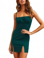 Glam Green Zip Adjustable Strap Mini Dress Backless Going Out Outfits