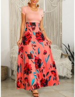 Appealing Short Sleeve Pink U Neck Slim Waist Maxi Dress Luscious Curvy