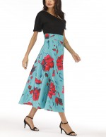 Particularly Plus Size Floral Zip One Shoulder Midi Dress Female