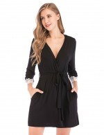Black Waistband Modal Cardigan Sleepwear Lace Beautiful Addition
