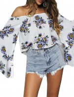 Ravishing Purple Sunflower Flare Sleeve Off Shoulder Blouse