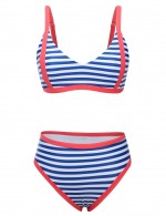 Brightly Stripes Adjustable Straps 2 Pieces Swimsuit High Elasticity