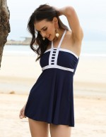 Exotic Paradise Dark Blue Contrast Color Halter Beach Dress Plus Size Elegance