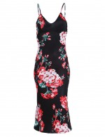 Naughty Slender Strap Black V Neck Bodycon Dress Print Feminine Curve