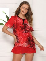 Cheeky Chiffon Queen Size Red Print Round Neck T-Shirt Form Fit