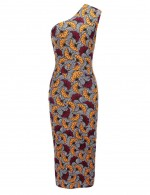 Ultra Fresh Brushed Sloping Shoulder Bodycon Dress Print Gentle Fabric