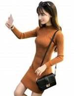 Chic Mini Length Khaki High Collar Sweater Dress Ribbed For Women