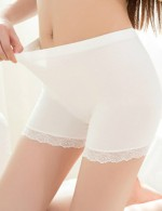 Wholesale White Plain Lace Short Underwear Legging High Waist Modern Fit