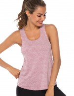 Athletic Dark Pink Sport I-Shaped Open Back Tank Top U Neck Women