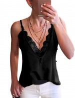 Black Deep V Neck Lace Sling Big Size Vest Top Comfort Fabric