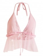 Creative Pink V Collar Tie Mesh Frill Top Halter Cropped Online