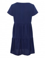 Navy Blue Empire Waist Flare Hem V Neck Mini Dress Fashion Design