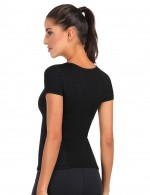 Luxirious Plain Black Neoprene Shaper Crew Neck Large Size