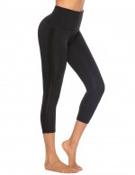 Black Ribbon High Waist Plain Sport Leggings Outdoor Activity
