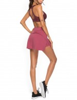 Moving Wine Red High Waist Slit Side Tennis Skirt Pocket For Female