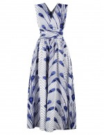 Flowing Peacock Print Empire Waist Maxi Dress Simplicity