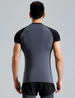 Cool Crew Neck Short Sleeve Male Sport Top Big Size Good Elasticity