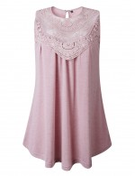 Fetching Pink Button Lace Stitch Hollow Tank Top Crew Neck Free Time