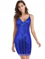 Naughty Backless Sequined Slender Strap Tight Dress Latest Fashion