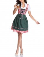 Glorious  Green German Minority Plaid Maid Oktoberfest Costumes Fast Shipping