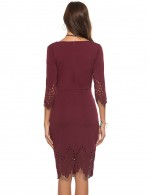Loose Wine Red Zipper Back Round Neck Hollow Bodycon Dress Feminine Fashion