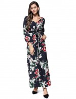 Flowery Long Sleeve Flower Bohemia Button Maxi Dress Honeymoon