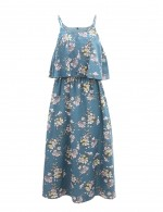 Blue Print Backless Sling Midi Dress Empire Waist All Over Smooth
