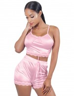 Fetching Pink U Collar Backless Tie Sleepwear Set Plus Size High Grade
