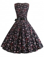 Conservative Floral Knot Zip Sleeveless Skater Dress Super Faddish